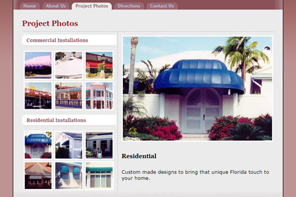 Discount Awnings web site image