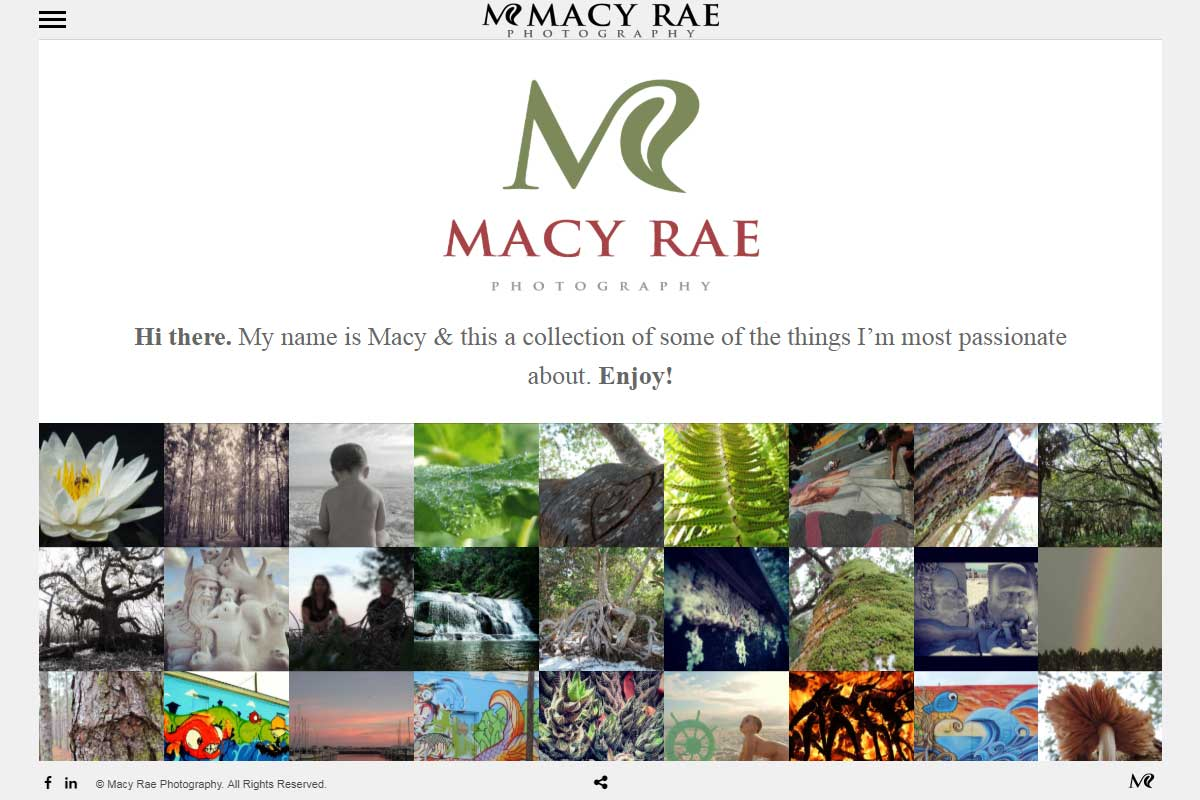 Macy Rae Photography web site image