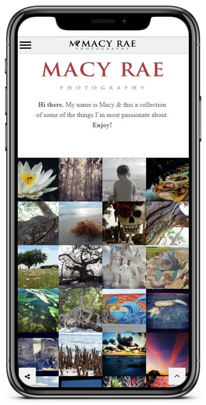 Macy Rae Photography mobile web site image