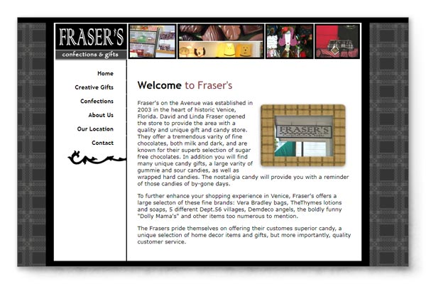 Frasers Gifts web site image