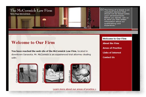 McCormick Law Firm web site image