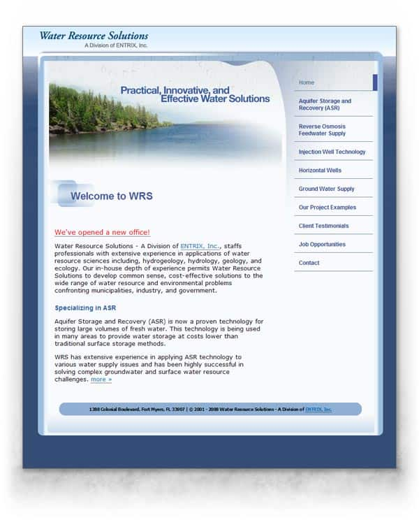 Water Resource Solutions web site image